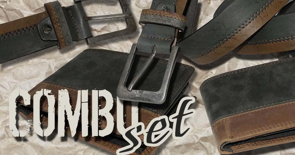 Combo SET  - luxusní kousek z dvoubarevné kůže s monogramem
