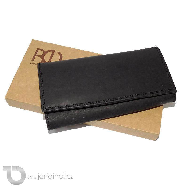 Dámská černá kožená peněženka TANNER Leather s monogramem (ražba)