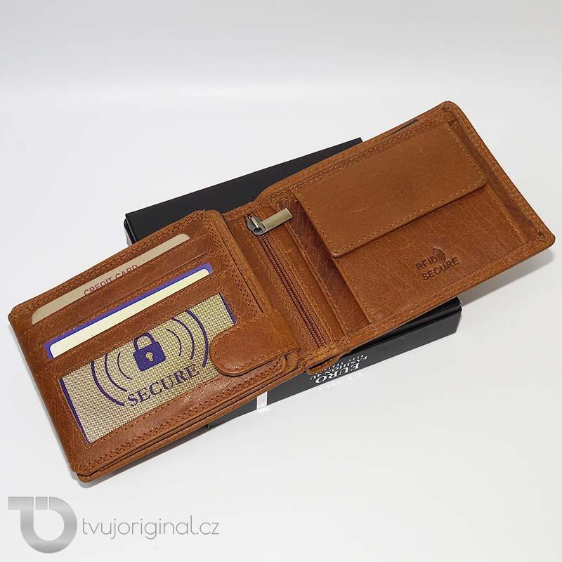 Pánská hnědá kožená peněženka RFID Premium Leather s monogramem (ražba)
