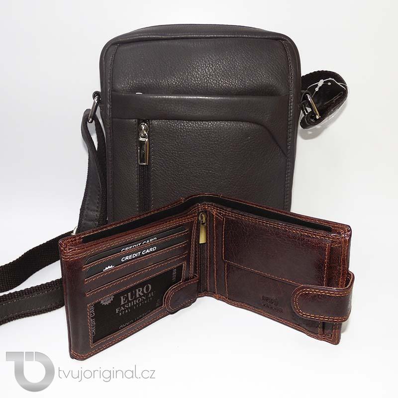 Pánský kožený set hnědá kožená peněženka a crossbody taška z pravé kůže PREMIUM Leather s monogramem (ražba)