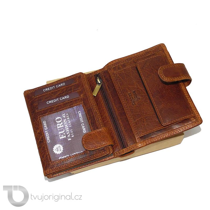 Pánská hnědá kožená peněženka RFID Premium Leather s monogramem a vlastním textem