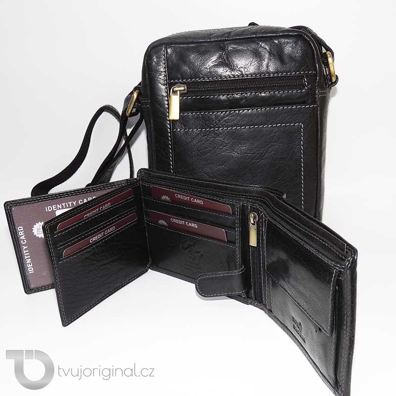 Pánský luxusní kožený set OILY černý kožená peněženka a crossbody taška z pravé kůže PREMIUM Leather s monogramem (ražba)