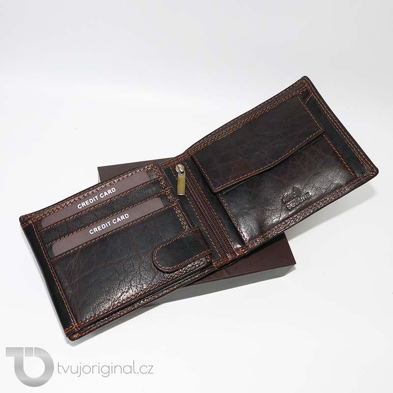 Pánská hnědá kožená peněženka EXCLUSIVE RFID Premium Leather s monogramem a vlastním textem