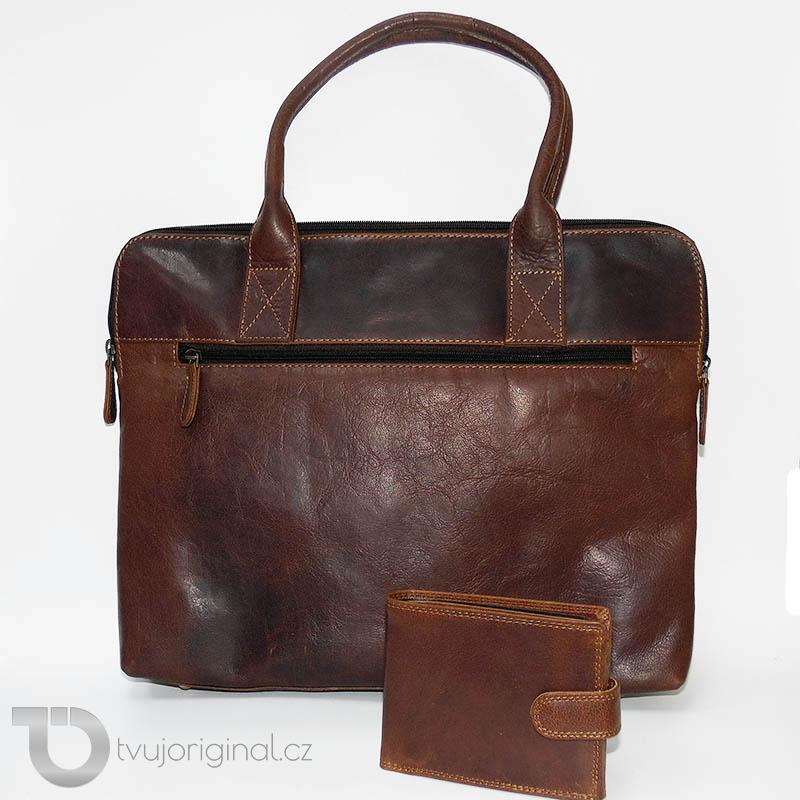 Pánský BUSINESS luxusní kožený set OILY hnědá kožená peněženka a velká taška z pravé kůže PREMIUM Leather s monogramem (ražba)
