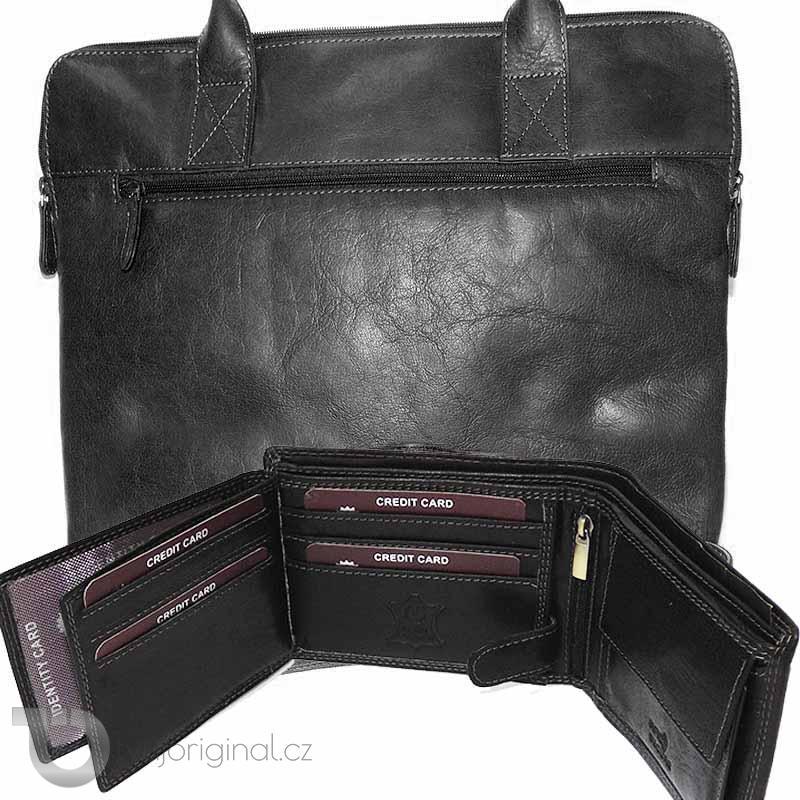 Pánský BUSINESS luxusní kožený set OILY černá kožená peněženka a velká taška z pravé kůže PREMIUM Leather s monogramem (ražba)