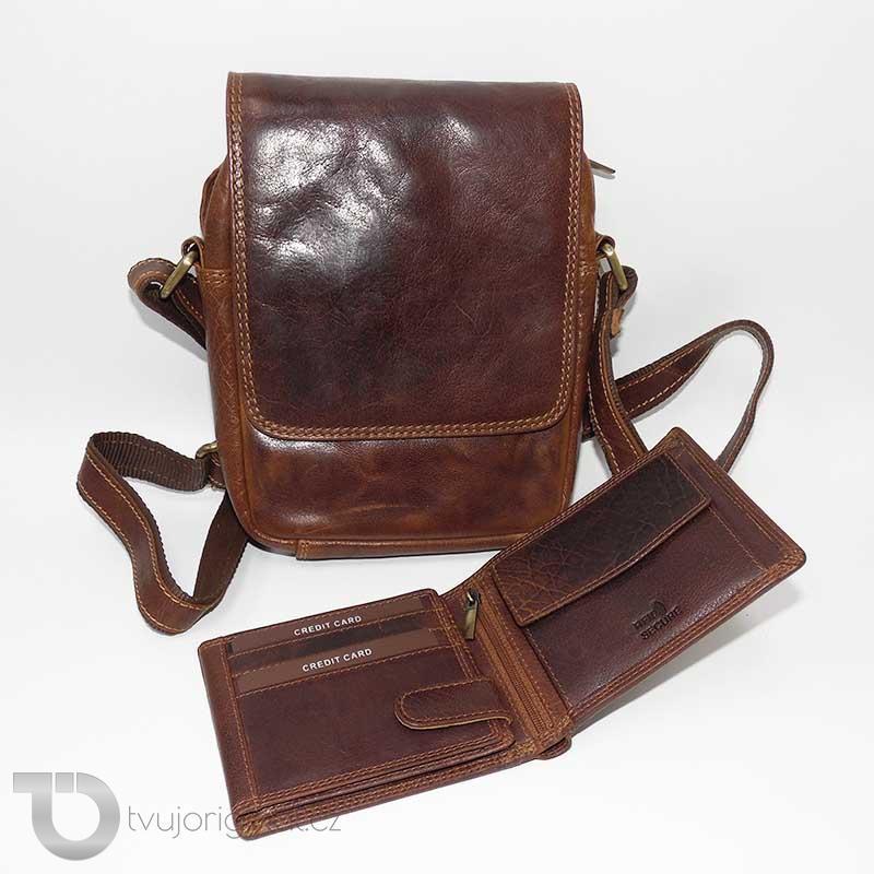 Pánský luxusní kožený set OILY hnědá kožená peněženka a crossbody taška z pravé kůže PREMIUM Leather s monogramem (ražba)