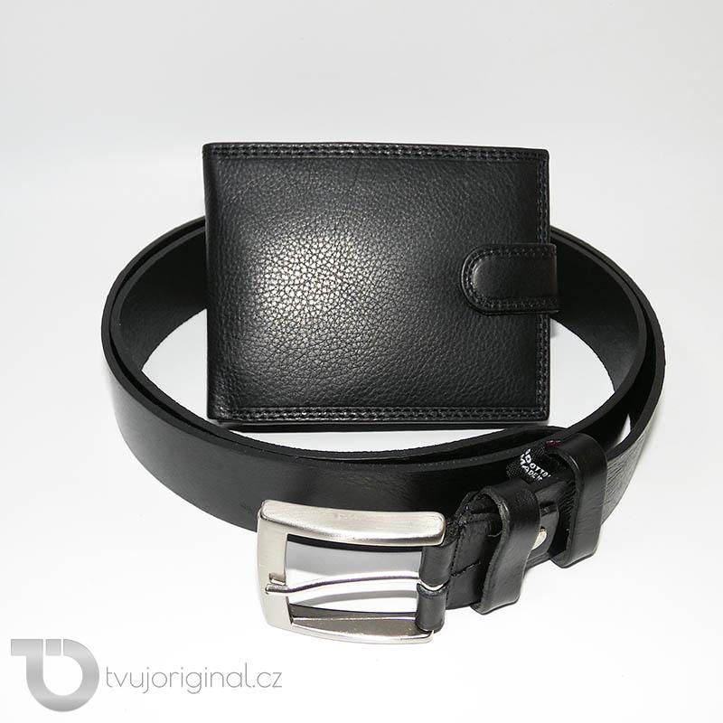 Pánský kožený set BULL Leather černá kožená peněženka a kožený pásek s monogramem (ražba)