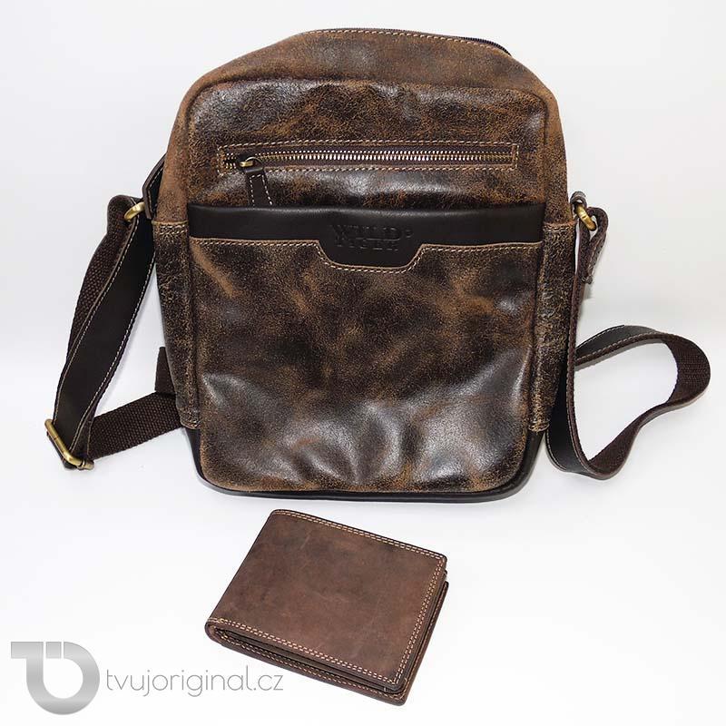 Pánský kožený set hnědá kožená peněženka a crossbody taška z pravé kůže Wild Leather s monogramem (ražba)