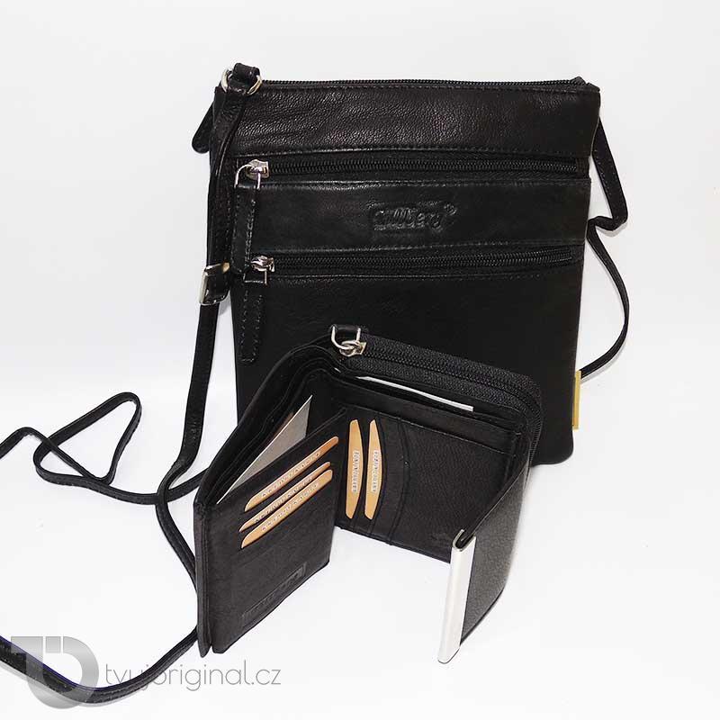Dámský kožený set černá kožená peněženka a crossbody taška z pravé kůže TILLBERG Leather s monogramem (ražba)