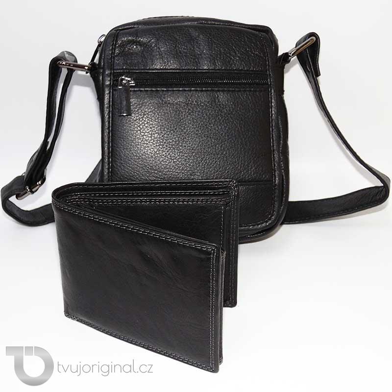 Pánský černý kožený set PREMIUM kožená peněženka a velká kožená crossbody taška BELLUGIO Leather s monogramem (ražba) na peněžence
