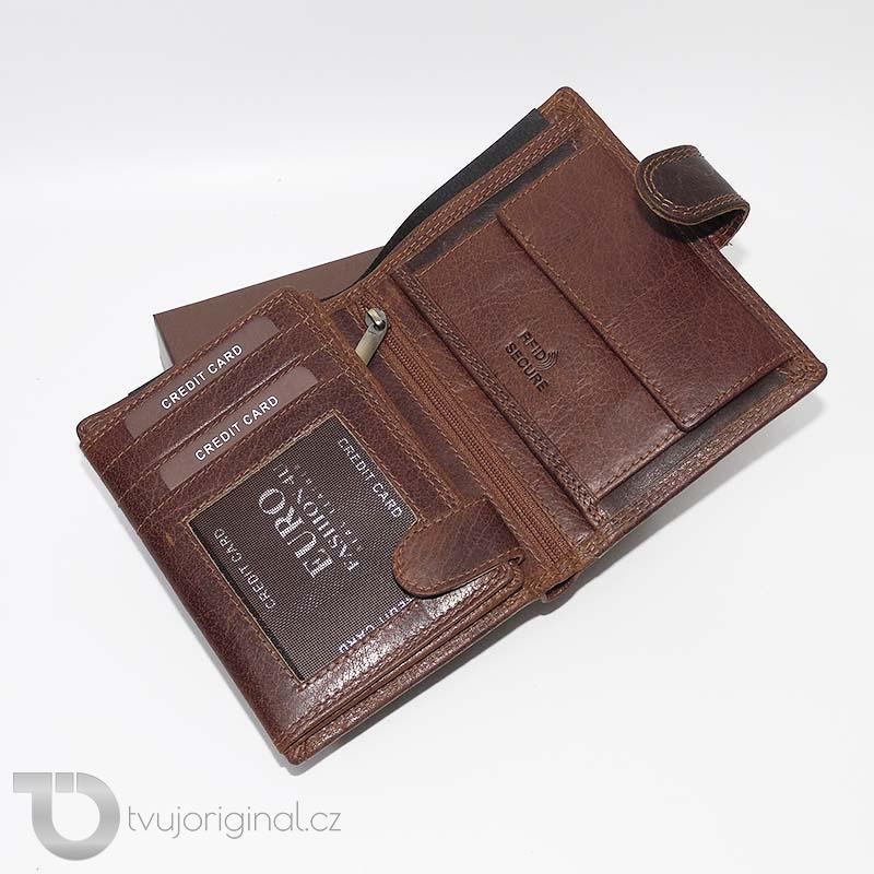 Pánská kožená peněženka RFID Premium Leather s monogramem (ražba)