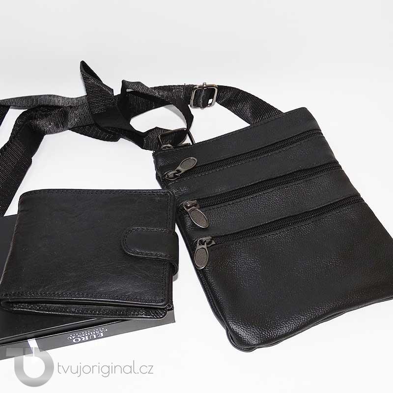 Pánský kožený set černá kožená peněženka a crossbody taška z pravé kůže PREMIUM Leather s monogramem (ražba)