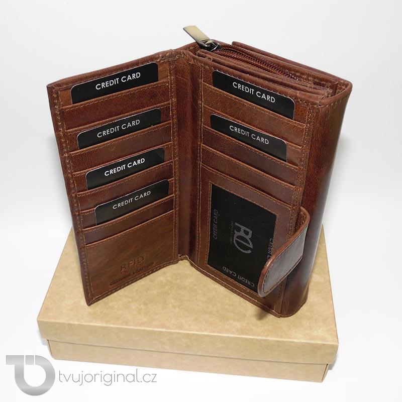 Dámská hnědá kožená peněženka ROYAL LEATHER RFID s monogramem, vlastním textem nebo fotkou