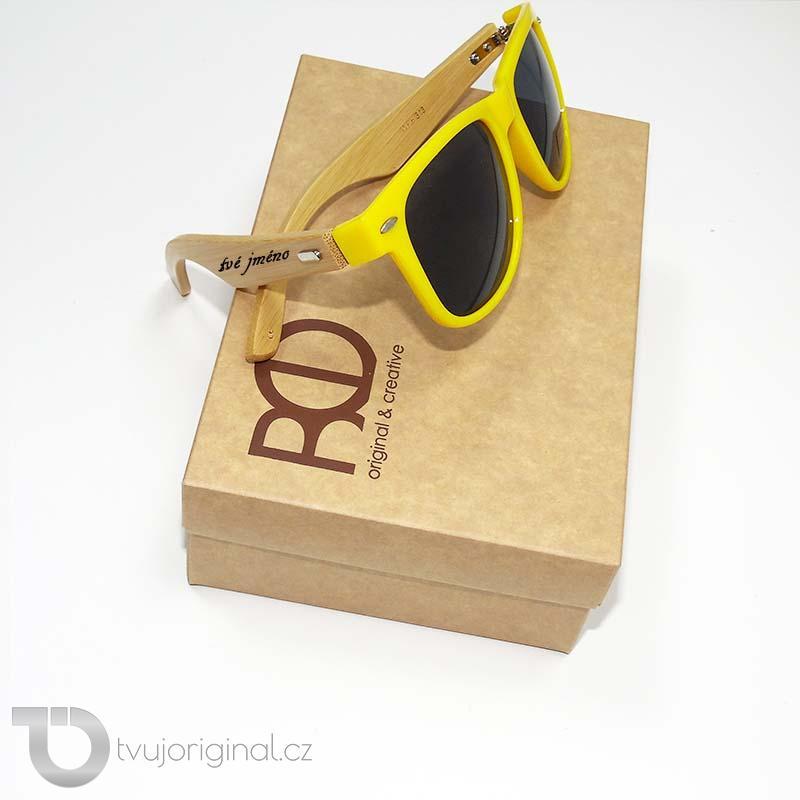 Žluté sluneční brýle BEORIGINAL bamboo s vlastním textem včetně dárkového balení