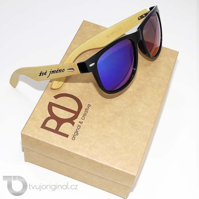 Černé sluneční brýle BEORIGINAL bamboo s vlastním textem včetně dárkového balení