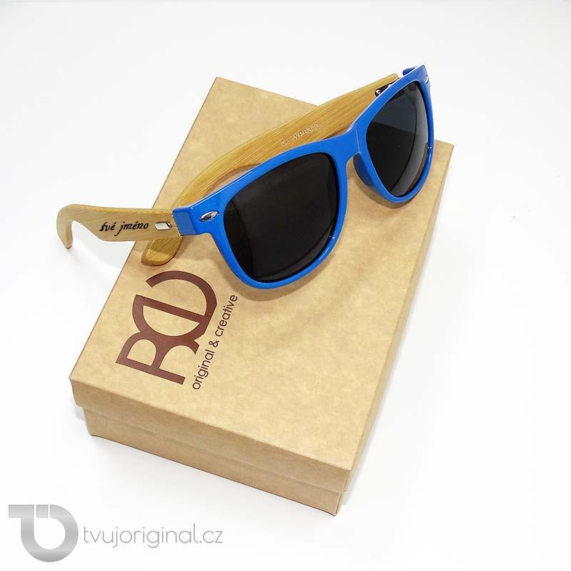 Modré sluneční brýle BEORIGINAL bamboo s vlastním textem včetně dárkového balení