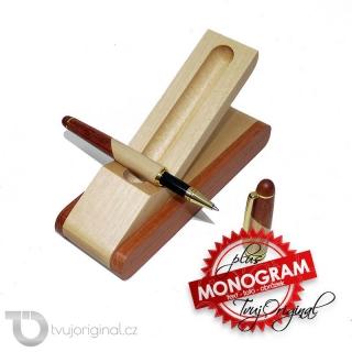 Luxusní dřevěné kuličkové pero v dárkovém balení s monogramem a vlastním textem