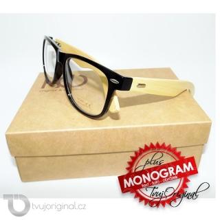 Černé průhledné sluneční brýle BEORIGINAL bamboo s vlastním textem včetně dárkového balení
