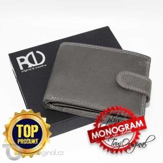 Pánská šedá kožená peněženka BEORIGINAL Leather s monogramem a vlastním textem