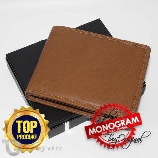 Pánská kožená peněženka RFID Premium Leather s monogramem a vlastním textem
