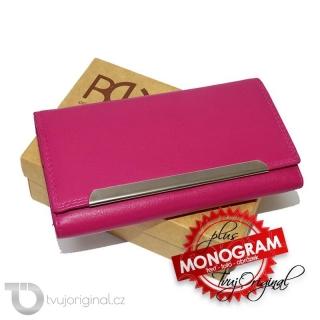 Dámská fuchsia kožená peněženka TILLBERG s monogramem a vlastním textem