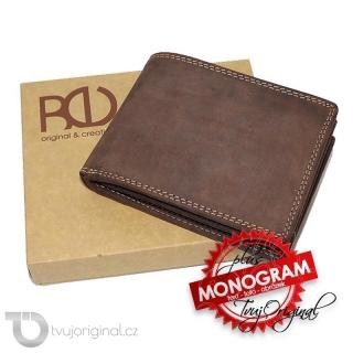 Pánská hnědá kožená peněženka TILBERG Leather s monogramem a vlastním textem