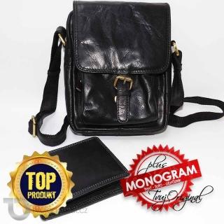 Pánský luxusní kožený set OILY černá kožená peněženka a crossbody taška z pravé kůže PREMIUM Leather s monogramem (ražba)