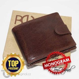 Pánská kožená peněženka ROYAL Leather s monogramem a vlastním textem