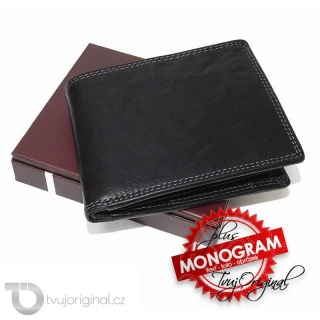 Pánská černá kožená peněženka RFID Premium Leather s monogramem a vlastním textem
