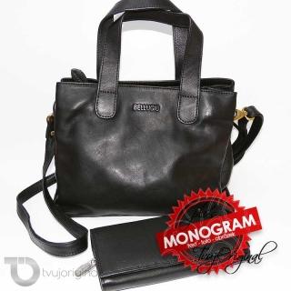 Dámský kožený set černá kožená peněženka a kožená kabelka BELLUGIO Leather s monogramem (ražba)