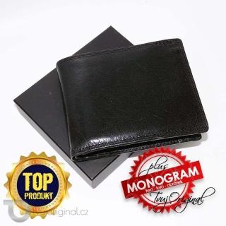 Pánská černá kožená peněženka RFID Premium Leather s monogramem (ražba)