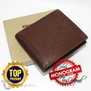 Pánská hnědá kožená peněženka Beoriginal Leather RFID s monogramem (ražba)