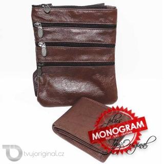 Pánský kožený set hnědá kožená peněženka a crossbody taška z pravé kůže GURU Leather s monogramem (ražba)