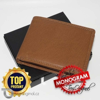 Pánská kožená peněženka Premium Leather s monogramem a vlastním textem