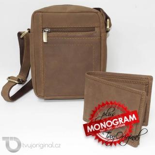 Pánský luxusní kožený set hnědá kožená peněženka a crossbody taška z pravé kůže PREMIUM Leather s monogramem (ražba)