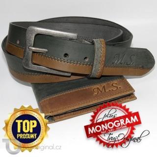 Pánský luxusní kožený set COMBO BEORIGINAL Leather kožená peněženka a kožený pásek (brown/anthracite) s monogramem (ražba)