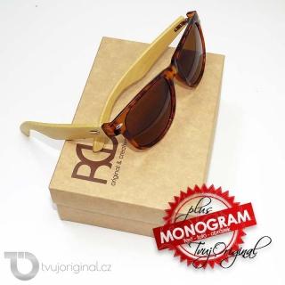 Hnědé sluneční brýle BEORIGINAL bamboo s vlastním textem včetně dárkového balení